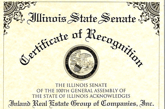 Illinois State Senate Certificate of Recognition