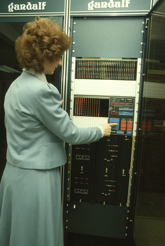 An Inland employee in 1980 working on the corporate office computer server